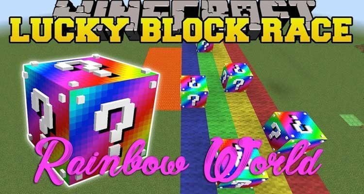 Rainbow World Lucky Block Race Map 1.12.2/1.12 for Minecraft